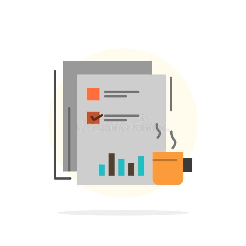 Financiële koffie, Markt, Nieuws, Krant, Kranten, Document Abstract Cirkel Achtergrond Vlak kleurenpictogram royalty-vrije illustratie