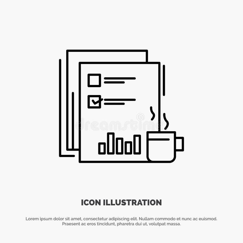 Financiële koffie, Markt, Nieuws, Krant, Kranten, Document de Vector van het Lijnpictogram royalty-vrije illustratie