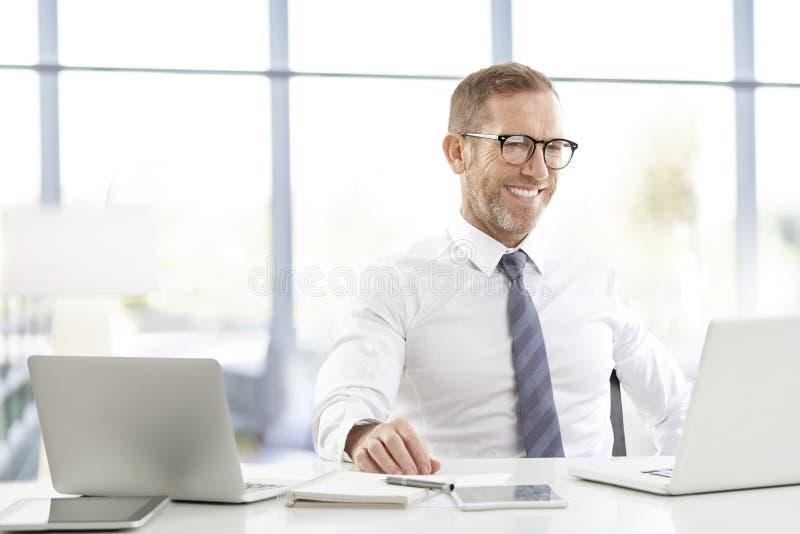 Financiële managerzakenman met laptops stock foto's