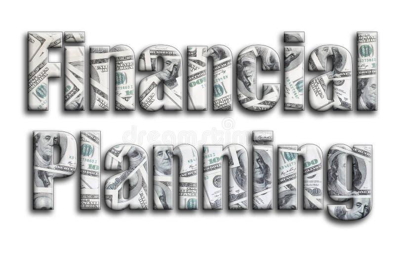 Financiële Planning De inschrijving heeft een textuur van de fotografie, die heel wat Amerikaanse dollarrekeningen afschildert vector illustratie