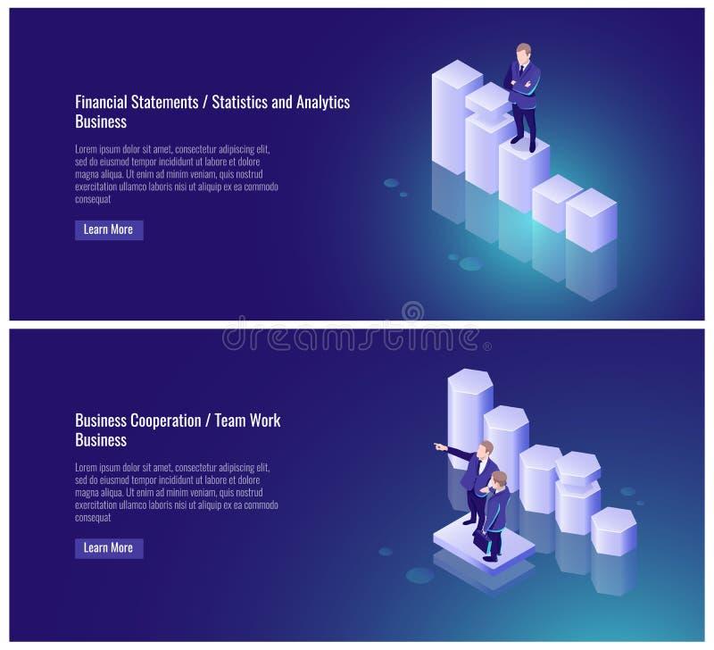 Financiële staat, statistieken en, analytics, samenwerking tussen bedrijven, het teamwerk, partner, zakenman, grafiek, succes stock illustratie