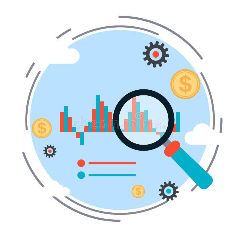 Financiële statistieken, markttendensenanalyse, bedrijfsgrafiek vectorconcept stock fotografie