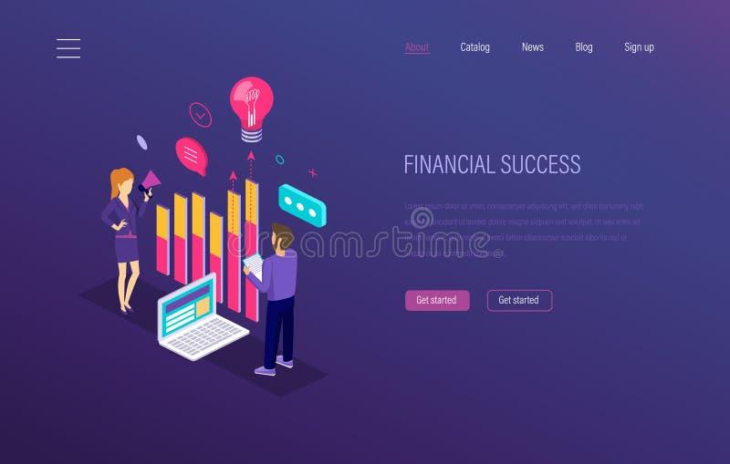 Financiële success De groei van economische financiënindicatoren, marketing onderzoek stock illustratie