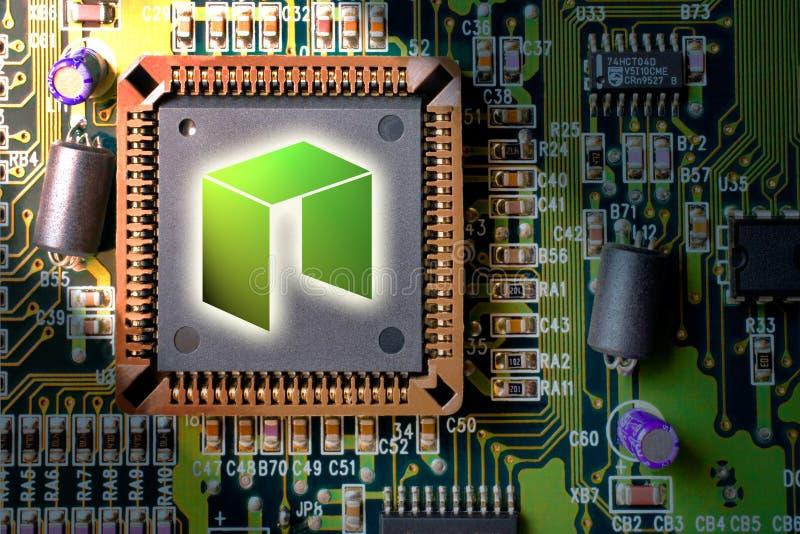financiële technologie en Internet-geld - mijnbouw en het muntstuk van de kringsraad de NEO royalty-vrije stock afbeelding