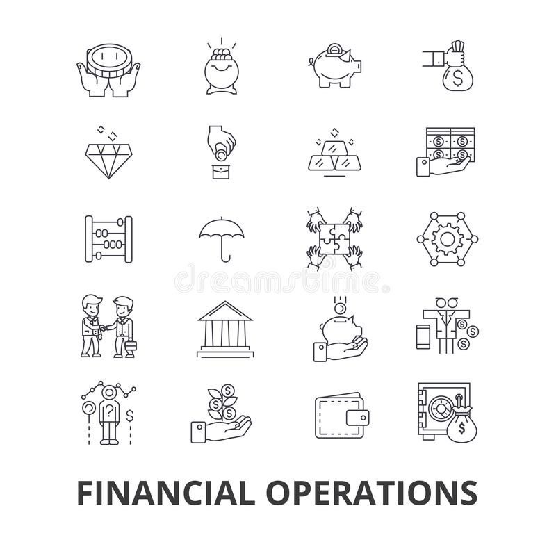 Financiële transacties, financiën, planning, de diensten, geld, boekhouding, de pictogrammen van de investeringslijn Editableslag vector illustratie