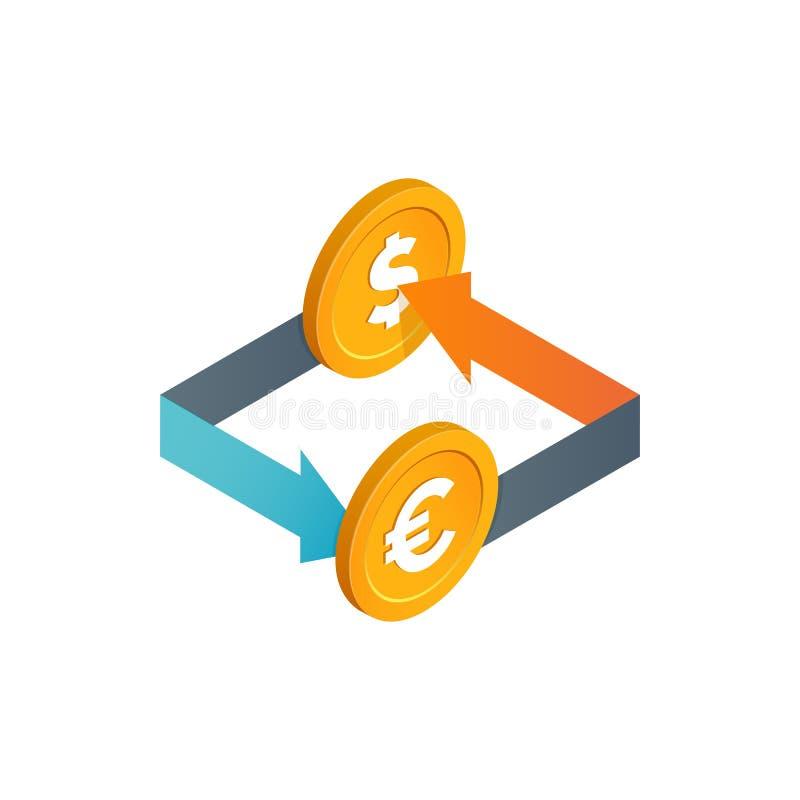 Financiële transacties, valuta-uitwisseling, vectorpictogram voor geldconversie Geïsoleerde isometrische en euromunten met gekleu vector illustratie