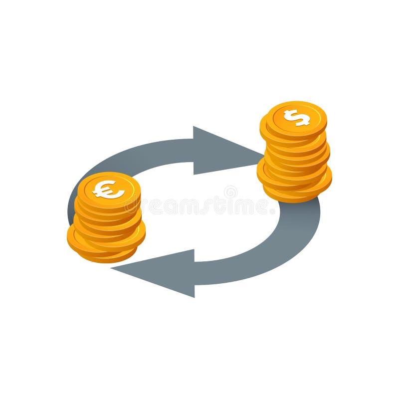 Financiële transacties, valuta-uitwisseling, vectorpictogram voor geldconversie Isometrische stapel munten, geïsoleerd, met pijle vector illustratie