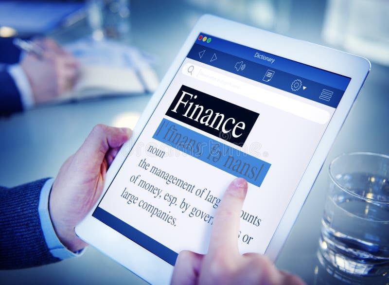 Financiën die het Bureauconcept betekenen van de Woordenboek Digitaal Tablet stock afbeeldingen