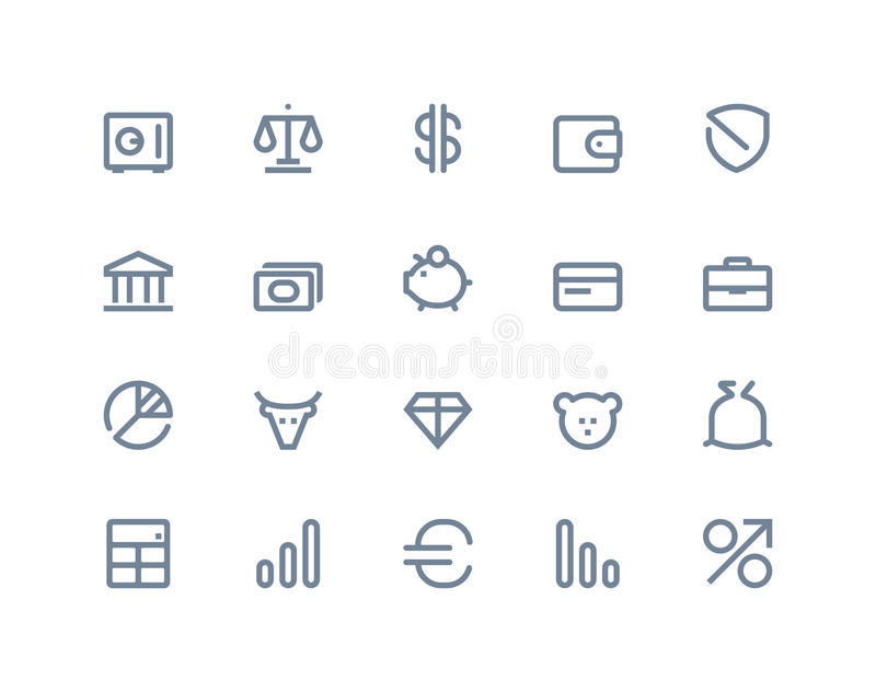 Financiën en bankpictogrammen Lijnreeks
