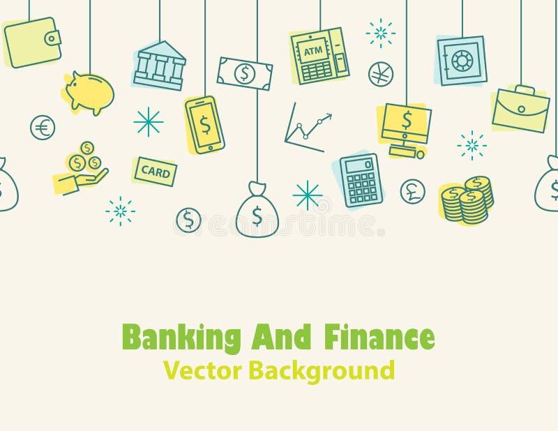 Financiën en bankwezen, Geldachtergrond, naadloze druk, vector illustratie