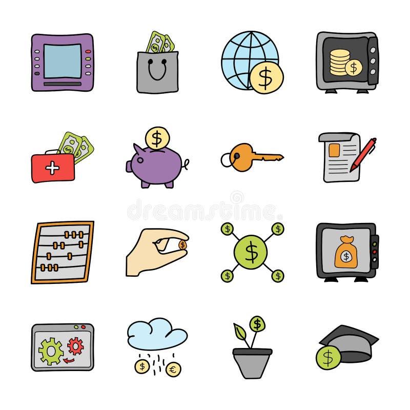 Financiën en Bankwezenpictogrammenbundel royalty-vrije illustratie