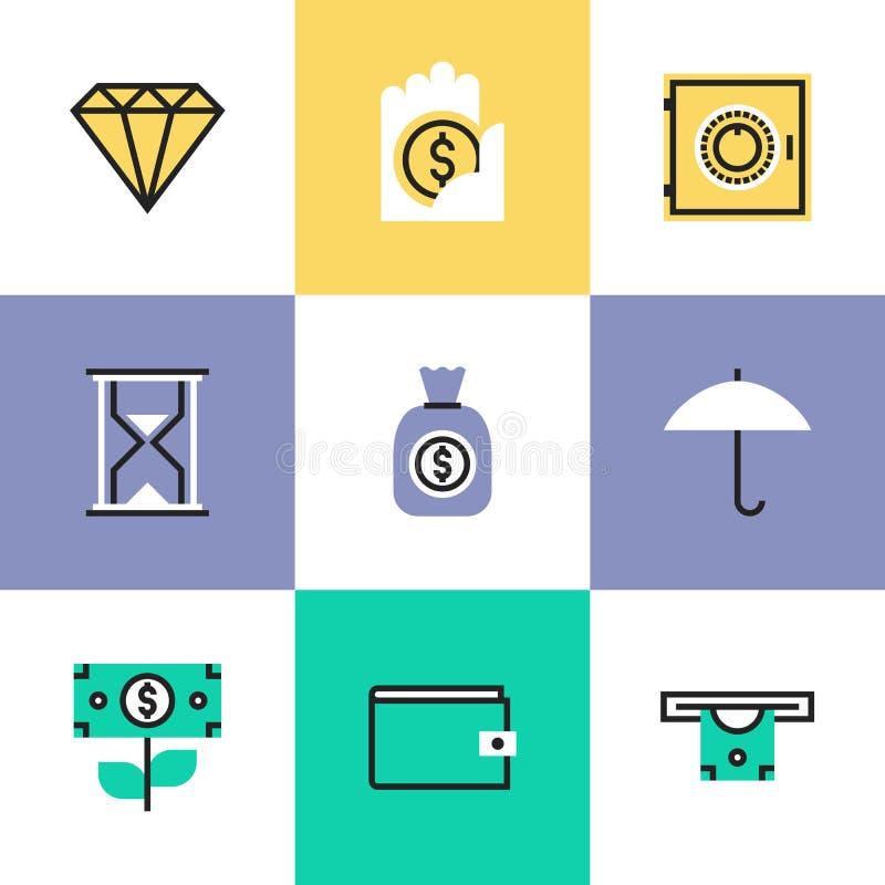 Financiën en beschermings geplaatste pictogrampictogrammen vector illustratie