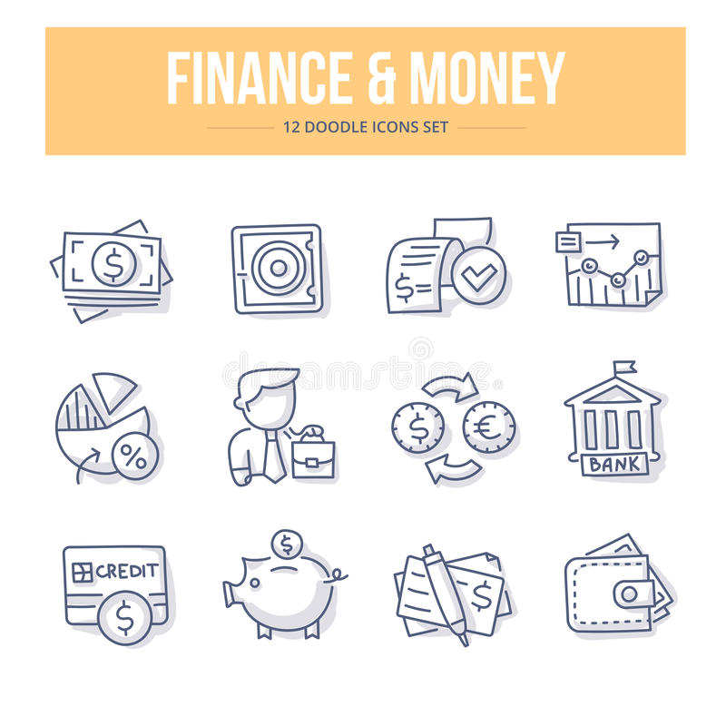 Financiën & Geldkrabbelpictogrammen royalty-vrije illustratie
