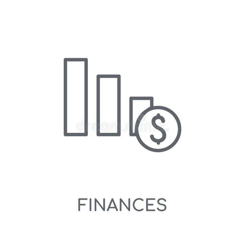 Financiën lineair pictogram Het moderne overzicht financiert embleemconcept op wh stock illustratie