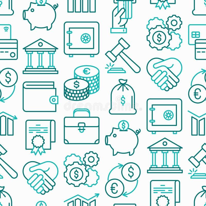 Financiën naadloos patroon met dunne lijnpictogrammen vector illustratie