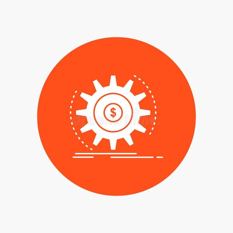 Financiën, stroom, inkomen, het maken, Pictogram van geld het Witte Glyph in Cirkel Vectorknoopillustratie stock illustratie