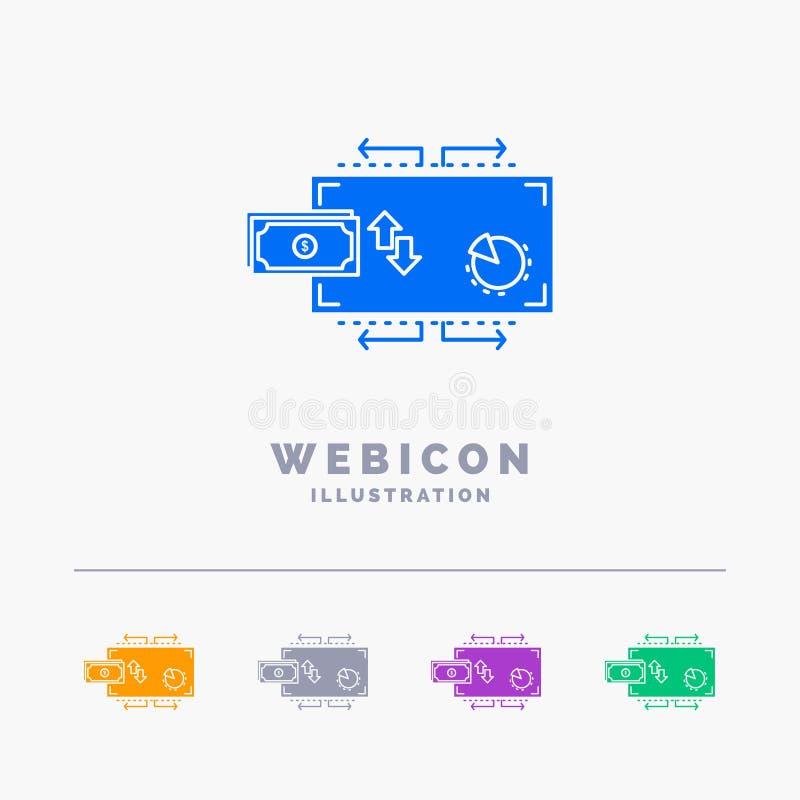 Financiën, stroom, marketing, geld, betalingen 5 het Malplaatje van het het Webpictogram van Kleurenglyph op wit wordt geïsoleerd stock illustratie