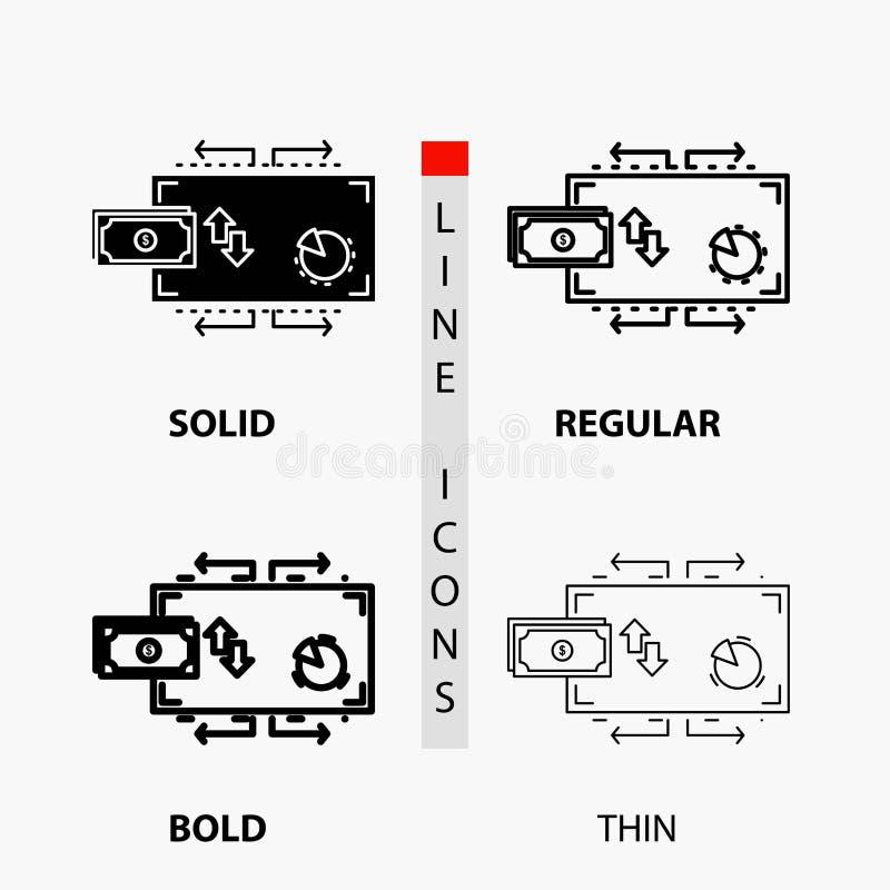 Financiën, stroom, marketing, geld, betalingenpictogram in Dunne, Regelmatige, Gewaagde Lijn en Glyph-Stijl Vector illustratie vector illustratie