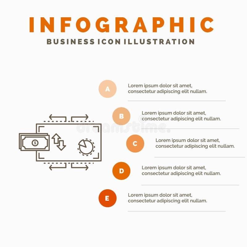 Financiën, stroom, marketing, geld, het Malplaatje van betalingeninfographics voor Website en Presentatie Lijn Grijs pictogram me vector illustratie