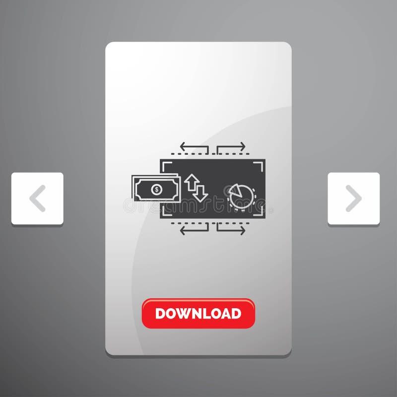 Financiën, stroom, marketing, geld, het Pictogram van betalingenglyph in Carousal het Ontwerp van de Pagineringschuif & Rode Down stock illustratie
