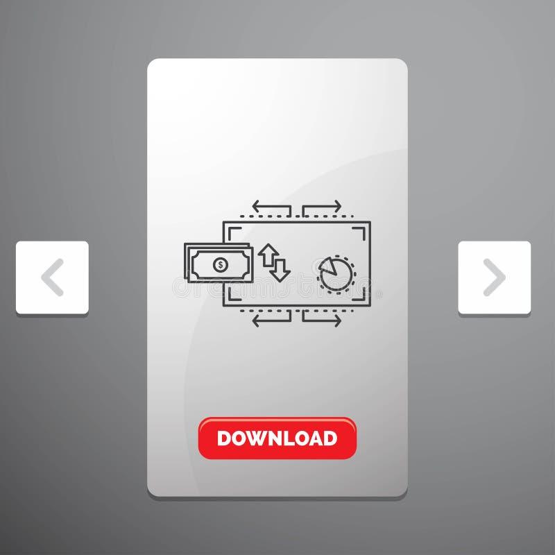 Financiën, stroom, marketing, geld, het Pictogram van de betalingenlijn in Carousal het Ontwerp van de Pagineringschuif & Rode Do royalty-vrije illustratie