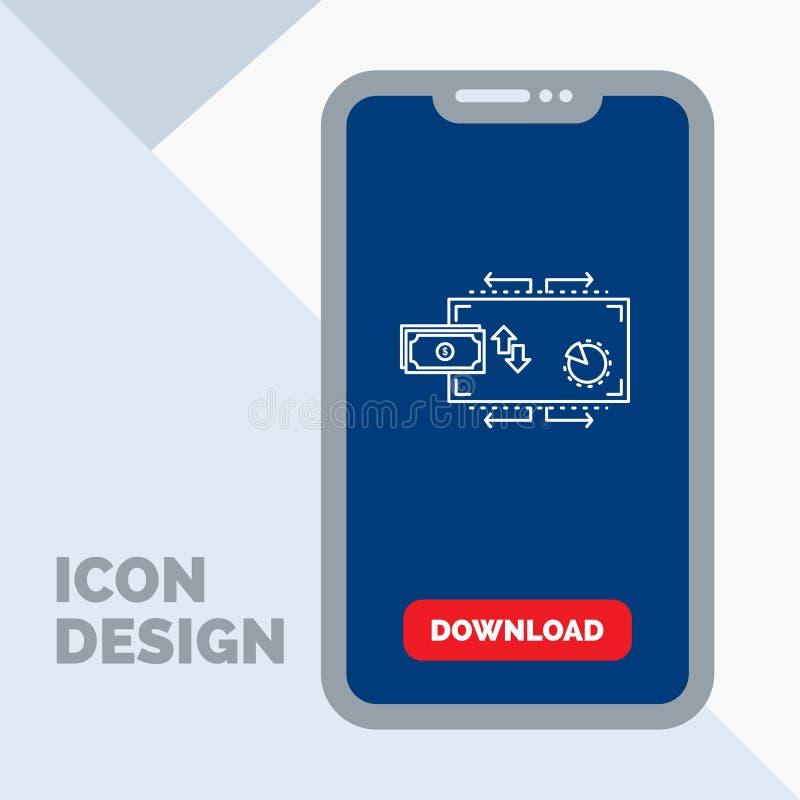 Financiën, stroom, marketing, geld, het Pictogram van de betalingenlijn in Mobiel voor Downloadpagina royalty-vrije illustratie