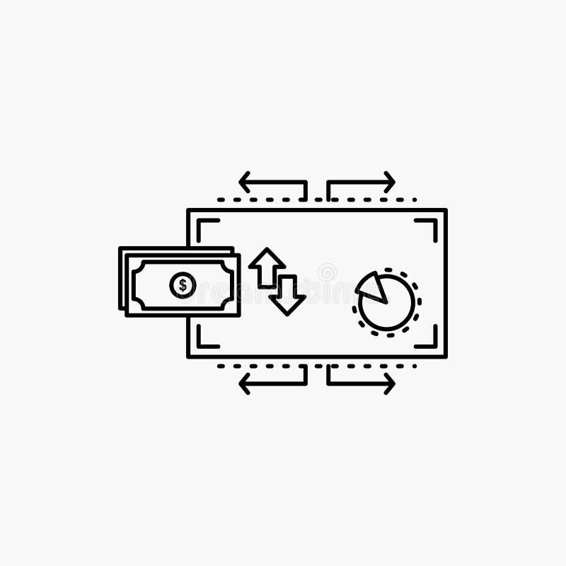 Financiën, stroom, marketing, geld, het Pictogram van de betalingenlijn Vector ge?soleerde illustratie royalty-vrije illustratie