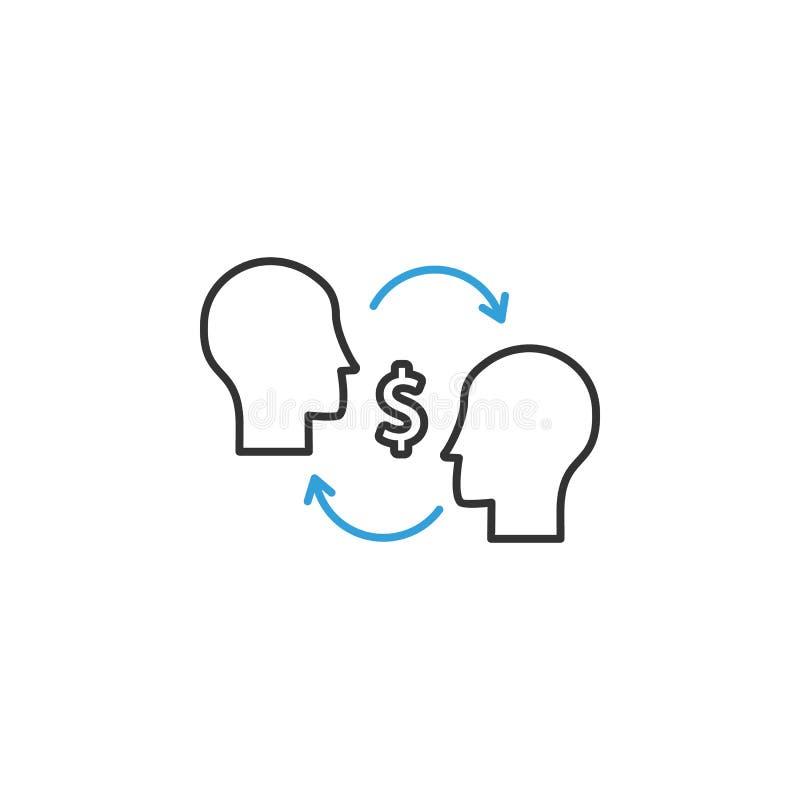 financiën, uitwisseling, mensen 2 gekleurd lijnpictogram Eenvoudige gekleurde elementenillustratie uitwisseling, het symbool van  stock illustratie