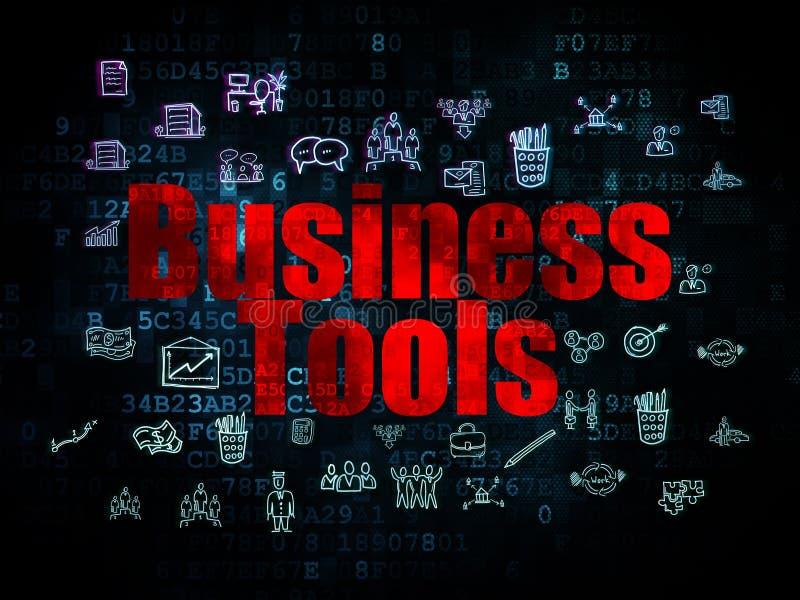 Financiënconcept: Bedrijfshulpmiddelen op Digitaal stock illustratie