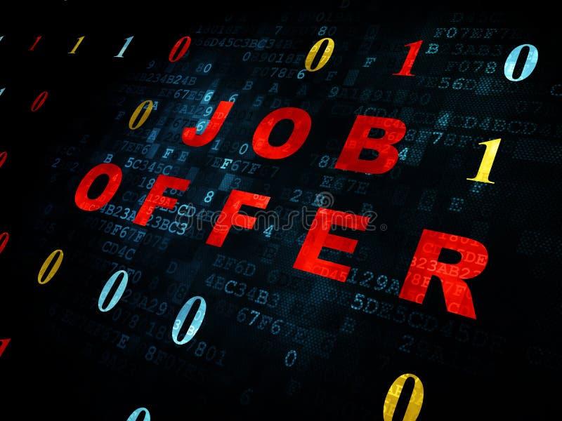Financiënconcept: Job Offer op Digitale achtergrond royalty-vrije illustratie