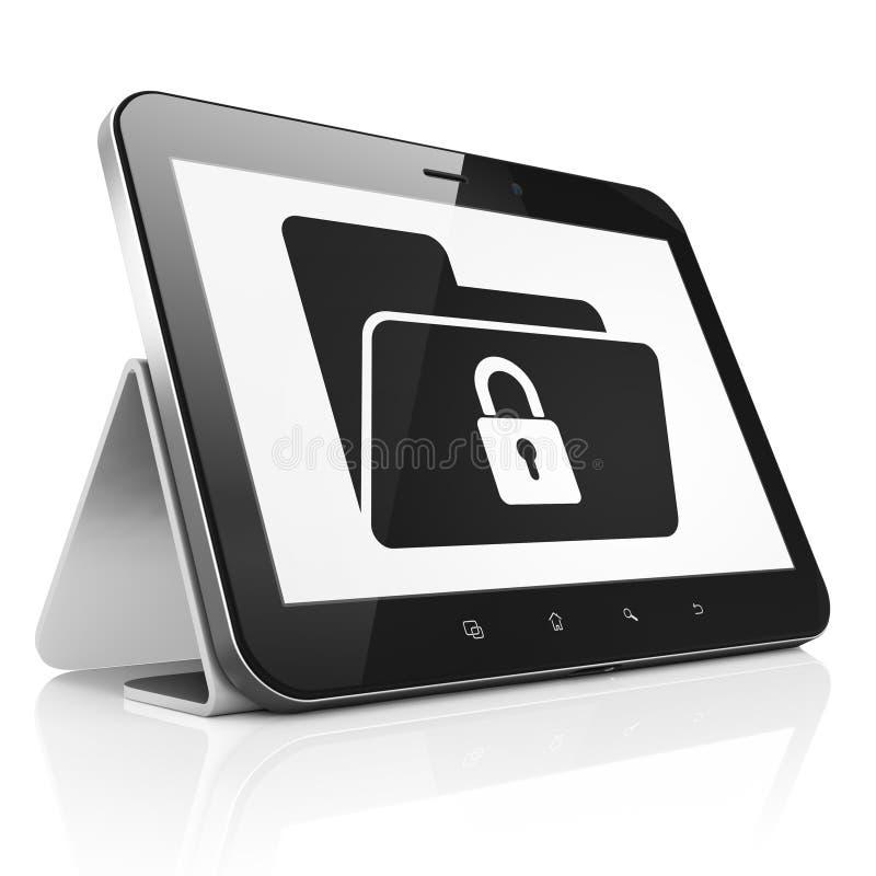 Financiënconcept: Omslag met Slot op tabletpc stock illustratie