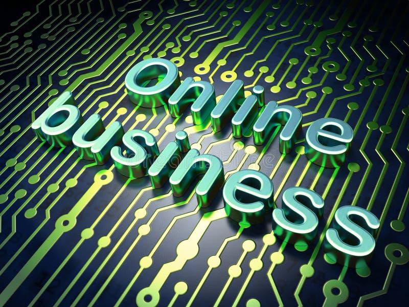 Financiënconcept: Online Zaken op de achtergrond van de kringsraad royalty-vrije stock foto's