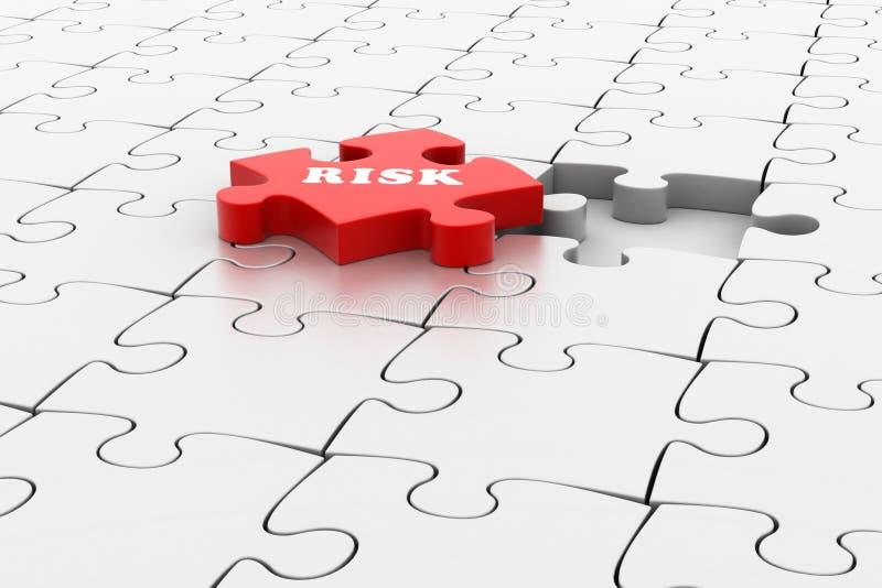 Financiënconcept: Risico op rood raadselstuk royalty-vrije illustratie