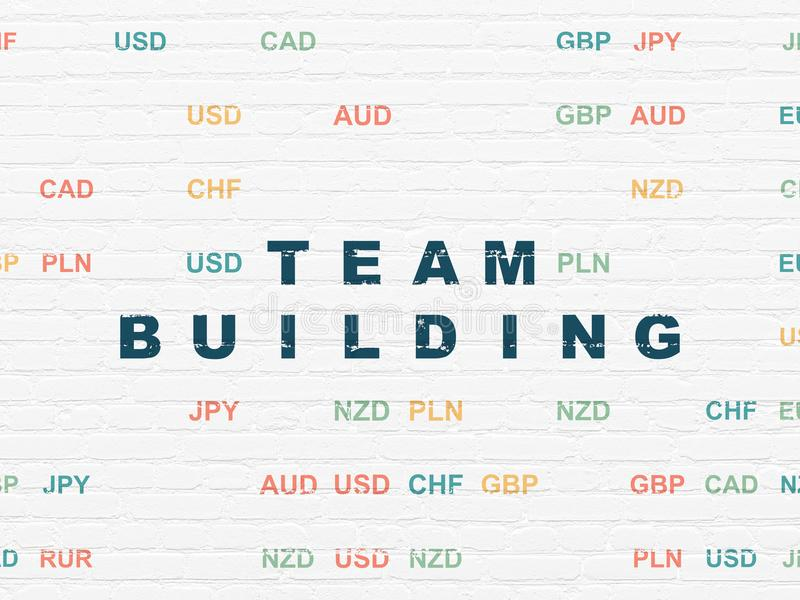 Financiënconcept: Team Building op muurachtergrond royalty-vrije stock fotografie