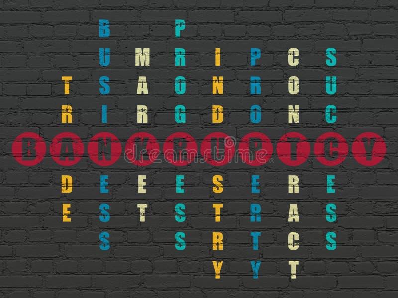 Financiënconcept: woordfaillissement in Kruiswoordraadsel stock afbeelding