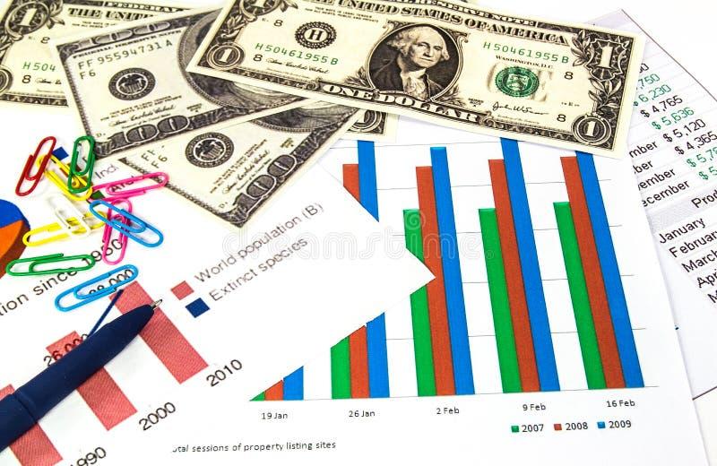 Financiëngrafieken, Amerikaanse dollars geld en een blauwe pen. stock afbeelding