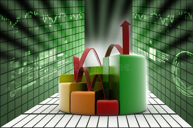 Financiënpastei en grafiek vector illustratie