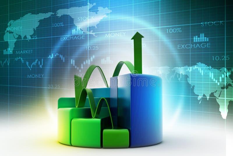 Financiënpastei en grafiekgrafieken met het kweken van pijl stock illustratie