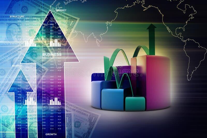 Financiënpastei en grafiekgrafieken met het kweken van pijl royalty-vrije illustratie