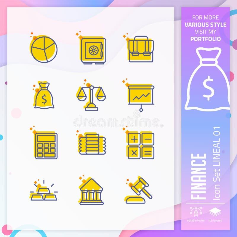 Financiënpictogram met stijl in rechte lijn voor bedrijfssymbool wordt geplaatst dat De bedrijfspictogrambundel kan voor website, vector illustratie