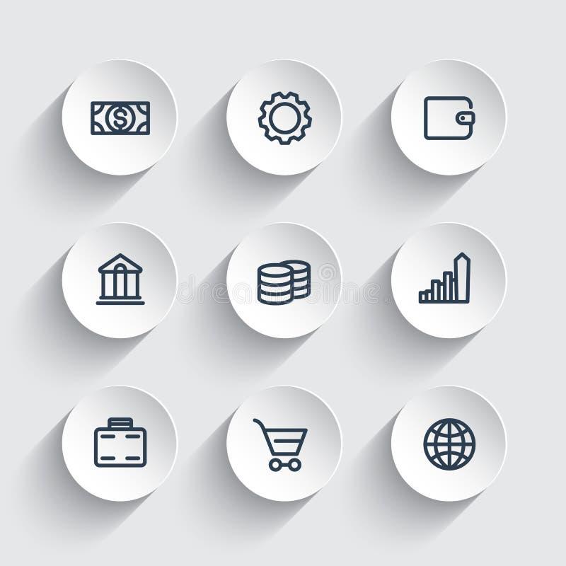 Financiënpictogrammen, portefeuille, geld, inkomen, besparingen, bankwezen, handel, dikke lijnpictogrammen op ronde 3d vormen royalty-vrije illustratie