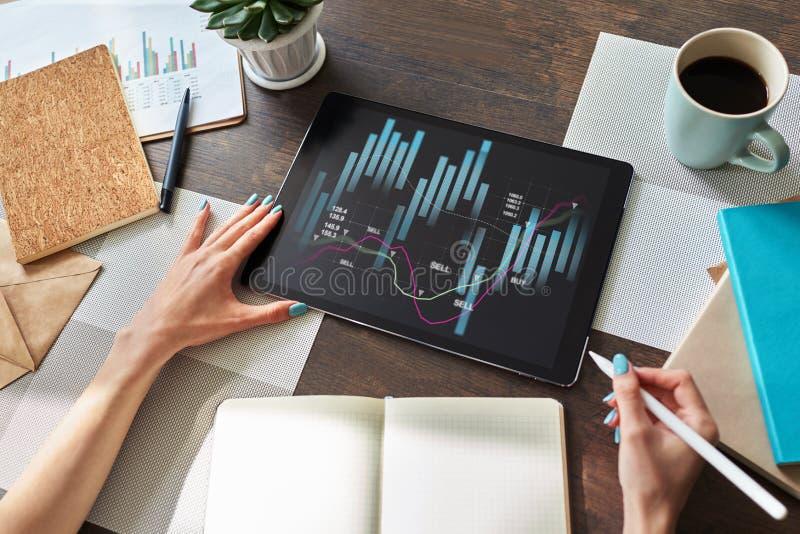 Financi?le grafieken op het apparatenscherm Online Investering en voorraad handelconcept stock foto's