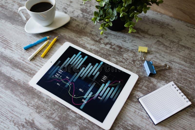 Financi?le grafieken op het apparatenscherm Online Investering en voorraad handelconcept stock foto