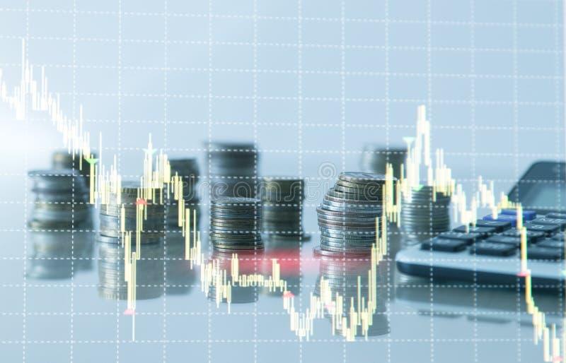 Financi?le grafiekgrafiek en rijen van muntstukken met calculator vector illustratie