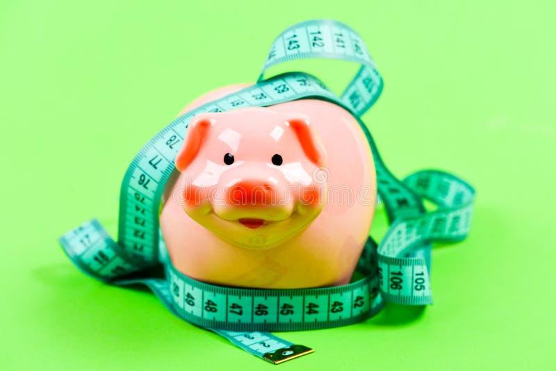 Financi?le Steun Leningsconcept Neem Krediet gelddieet Financi?n en handel spaarvarken met metingsband stock afbeeldingen