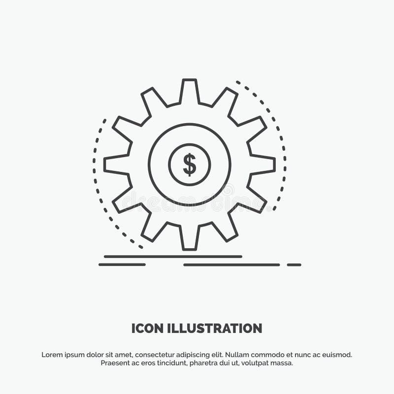 Financi?n, stroom, inkomen, het maken, geldpictogram Lijn vector grijs symbool voor UI en UX, website of mobiele toepassing vector illustratie