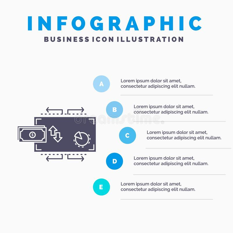 Financi?n, stroom, marketing, geld, het Malplaatje van betalingeninfographics voor Website en Presentatie GLyph Grijs pictogram m stock illustratie