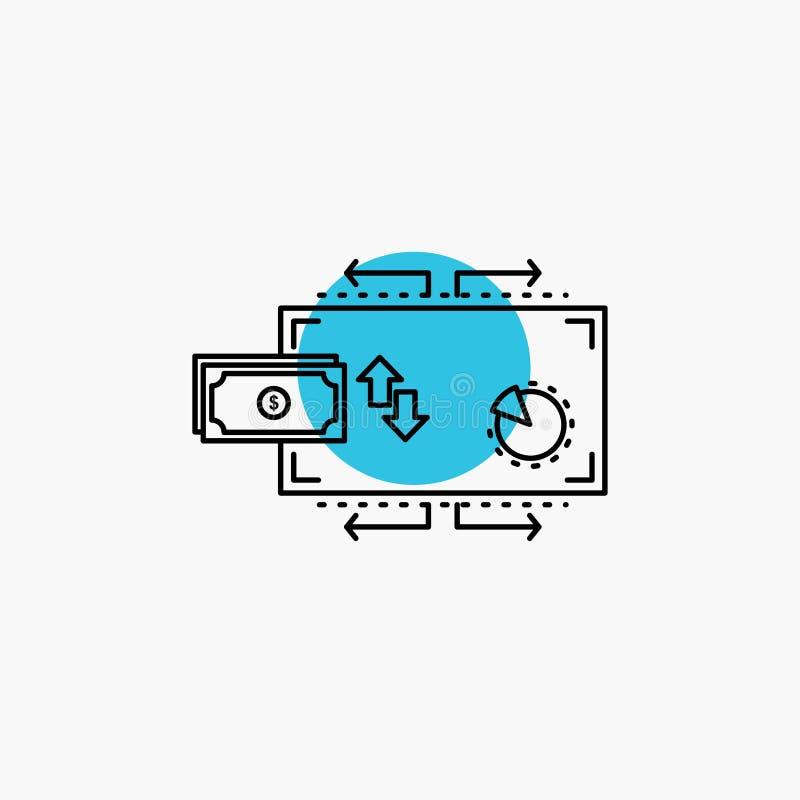 Financi?n, stroom, marketing, geld, het Pictogram van de betalingenlijn royalty-vrije illustratie