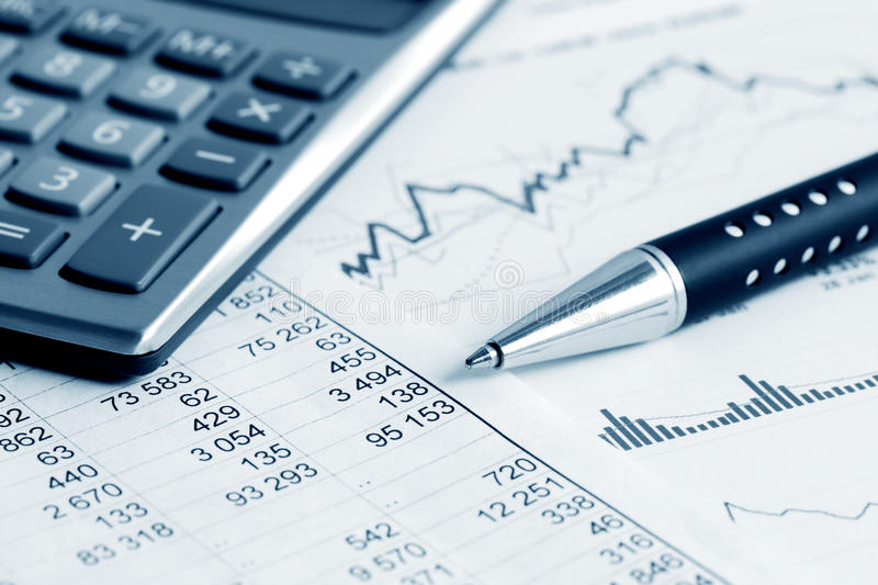 Financial accounting stock market graphs charts stock images
