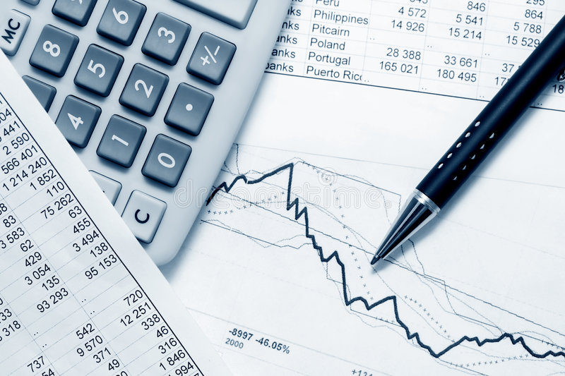 Financial accounting. Stock market graphs and charts analysis royalty free stock photography